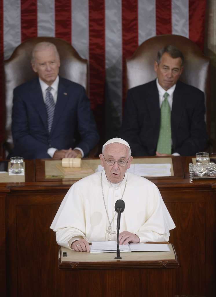 Pope Francis addresses a joint session of Congress at the U.S. Capitol in Washington, D.C., on Thursday, Sept. 24, 2015. (Olivier Douliery/Abaca Press/TNS)