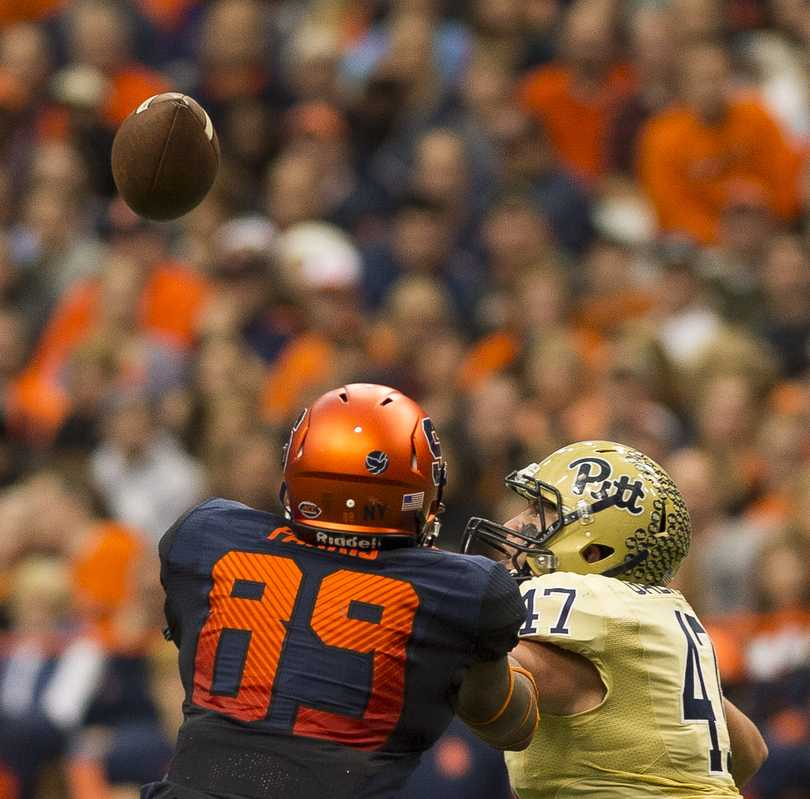 Junior Matt Galambos made a critical reception in Pitt's last game against Syracuse.  Photo courtesy of Bryan Cereijo | The Daily Orange