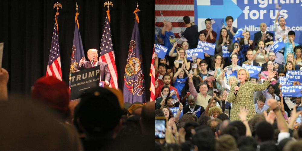 Republican candidate Donald Trump and Democratic candidate Hillary Clinton won clear victories in Pennsylvania's primary on Tuesday. Photos by Eva Fine (left) and Kate Koenig (right)