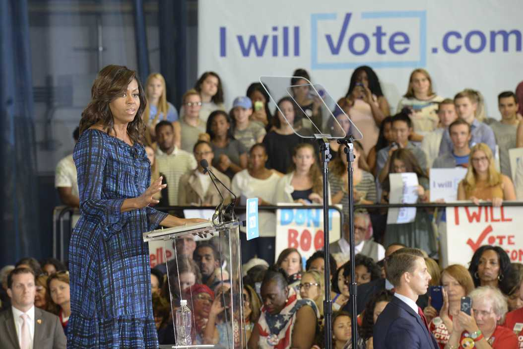 First Lady Michelle Obama spoke at the Fitzgerald Field House Wednesday afternoon. Elaina Zachos | Visual Editor