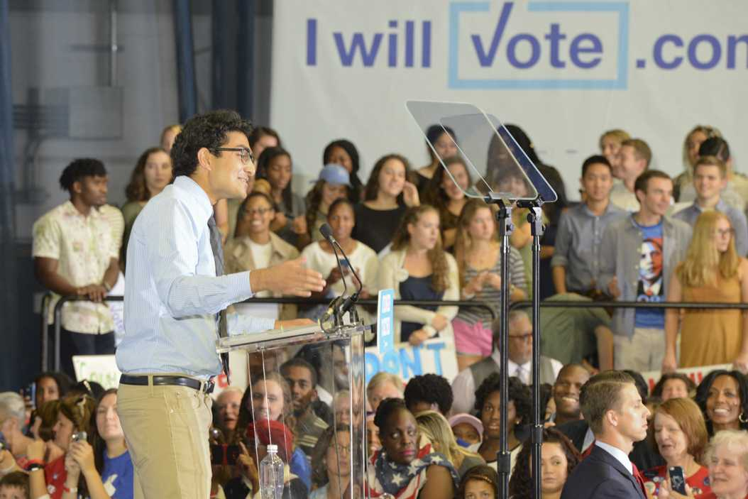 Saket Rajprohat addressing the crowd gathered for First Lady Michelle Obama's speech.  | Elaina Zachos, Visual Editor