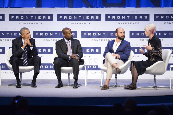 President Obama joins a panel of scientists and innovators at the White House Frontier Conference Plenary Session at Carnegie Mellon University | Jordan Mondell, Assistant Visual Editor