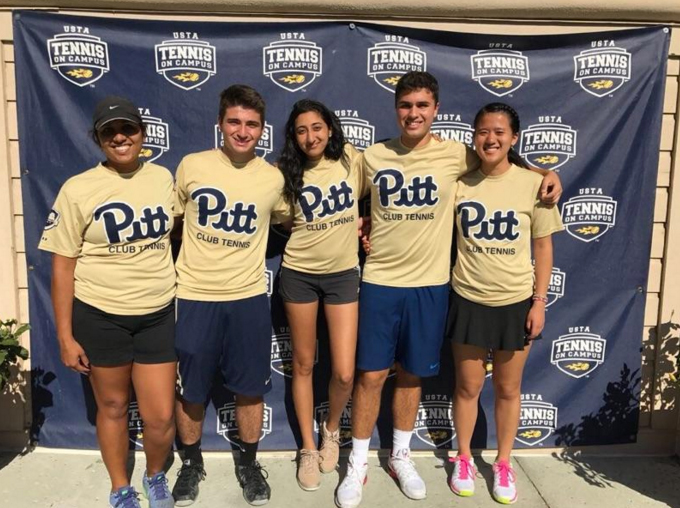 Pitt's club tennis team finished in seventh place out of 36 co-ed club and intramural teams at the USTA Tennis On Campus Fall Invitational in Hilton Head, South Carolina. Pictured from left to right: Anita Jain, Andrew Friedman, Rithika Reddy, Nick Kshatri and Grace Wang. Courtesy of Pitt Club Tennis