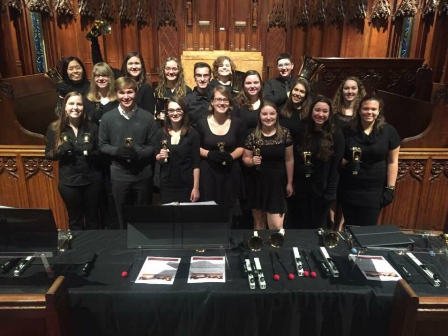 18 musicians make up the ensemble, which began with 10 members in 2004. Courtesy of the Pitt Handbell Ensemble