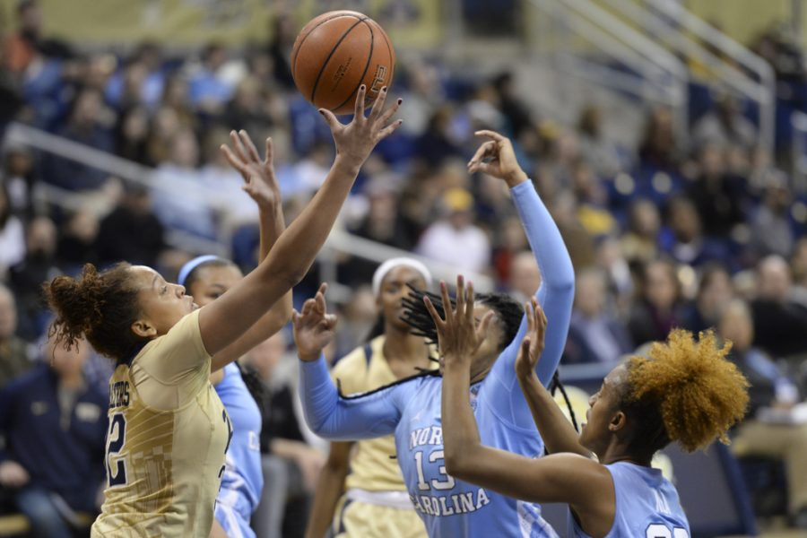 Kalista Walters goes up for a shot during Pitt's win. Anna Bongardino|Staff Photographer