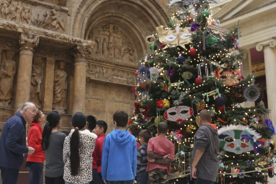 The five towering evergreens in the CMOA are decorated with focus on specific countries. Emily Brindley | Contributing Editor