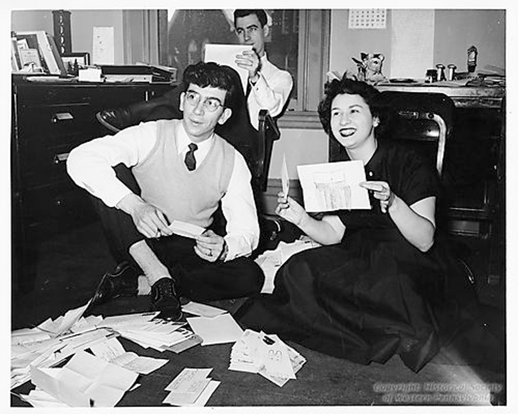 "Fred Rogers (back), Henry Massucci (left) and Josie Carey open fan mail for ""The Childrens Corner."" Courtesy Detre Library and Archives Division, Heinz History Center"