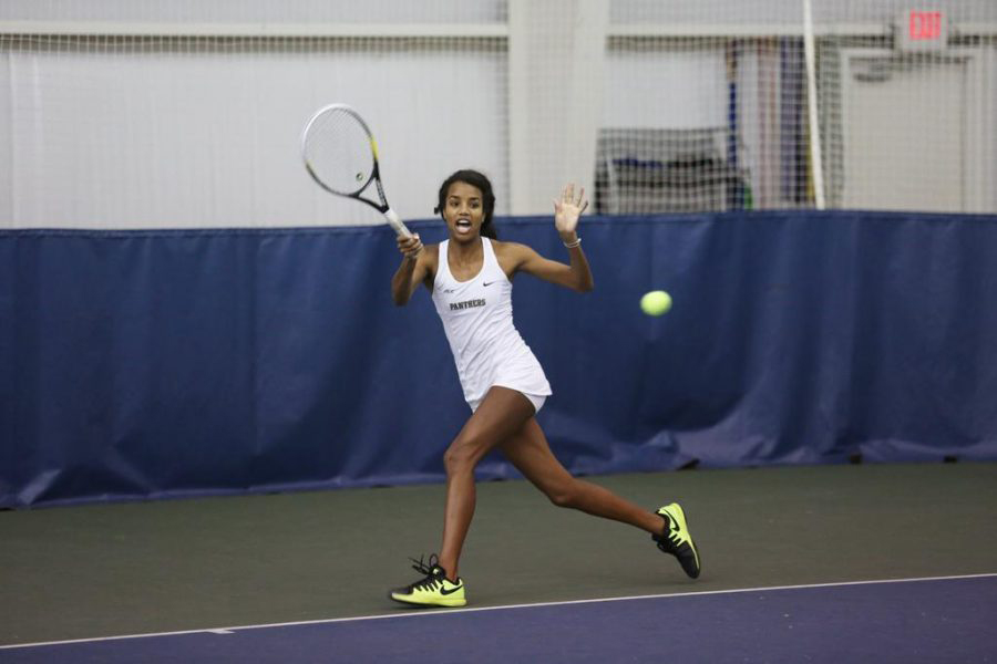 Pitt redshirt senior Amber Washington, pictured returning a volley in an April 2016 match, was crowned singles champion of Pitt's season-opening matches at the Vartabedian Invite. Courtesy of Pitt Athletics