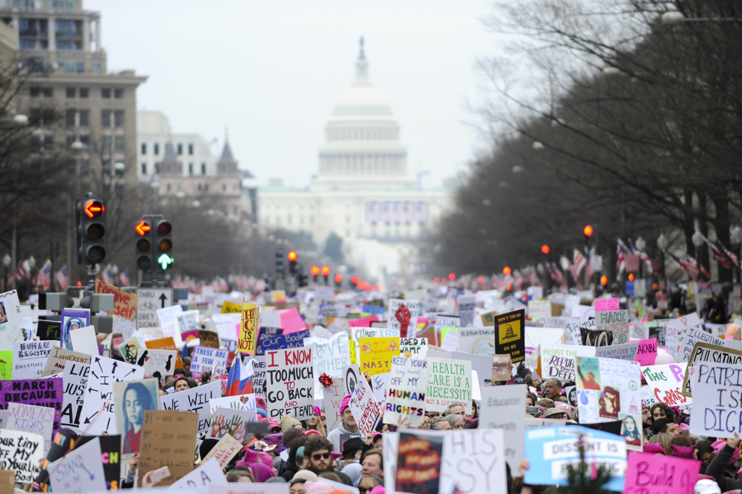 Marchers process from the capitol towards the White House. At least 500,000 people marched according to most estimates. John Hamilton | Visual Editor