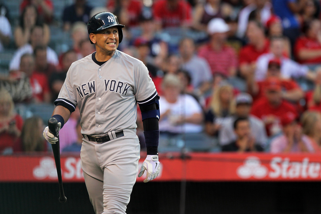The New York Yankees' Alex Rodriguez reacts after striking out against the Los Angeles Angels at Angel Stadium of Anaheim, Calif., on Tuesday, June 30, 2015. (Rick Loomis/Los Angeles Times/TNS)