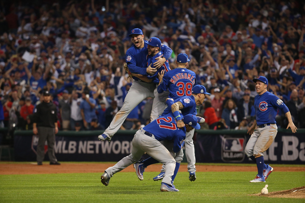 The Chicago Cubs celebrate after defeating the Cleveland Indians on Nov. 3, 2016 in Game 7 to win the World Series 8-7. (Brian Cassella/Chicago Tribune/TNS)