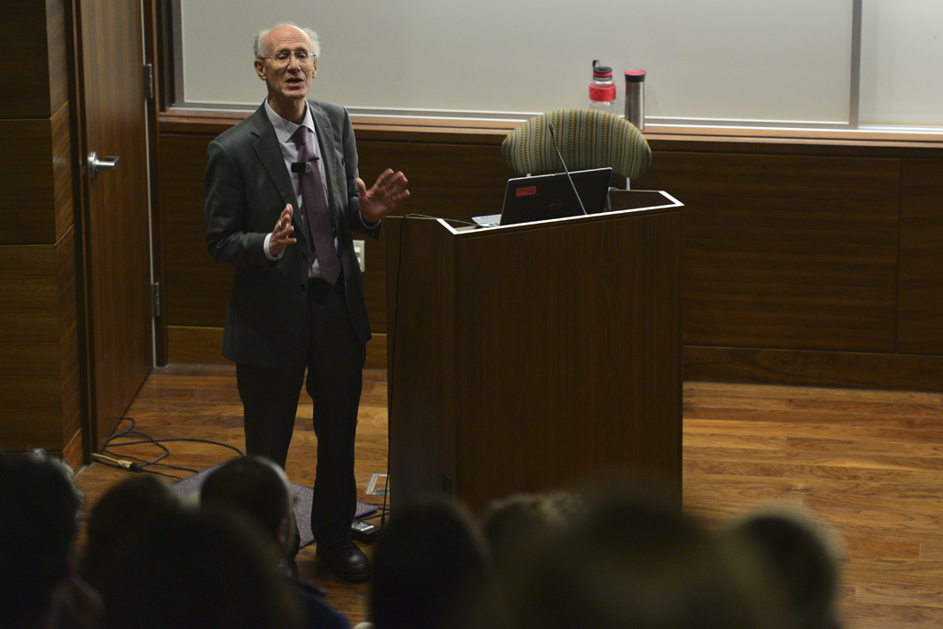 Peter Salk spoke to a crowd of 150 people on Wednesday evening at the University of Pittsburgh's Graduate School of Public Health. Evan Meng   Staff Photographer