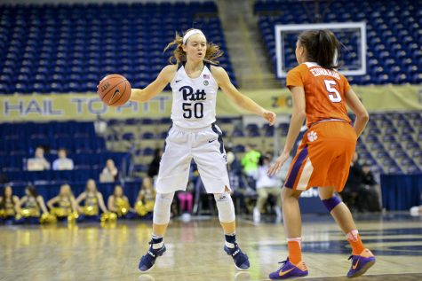 Pitt sophomore forward Brenna Wise racked up seven points and eight rebounds Thursday night against Clemson. Anna Bongardino | Staff Photographer