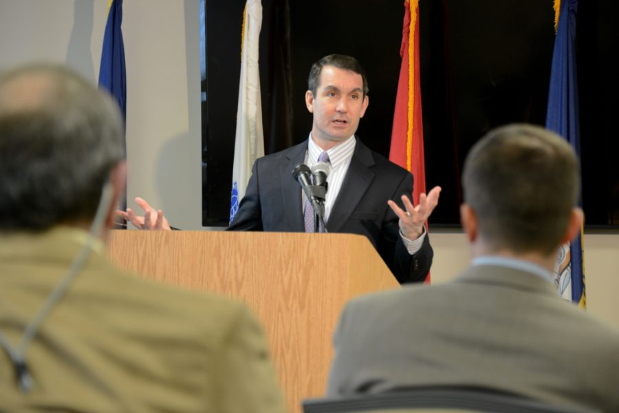 Pennsylvania Auditor General Eugene DePasquale praised DMVA's Hollidaysburg Veterans Home for cutting costs without cutting care during a press conference Feb. 23, 2015. He also spoke about his plans to audit PWSA on Thursday. Pennsylvania DMVA | Flickr