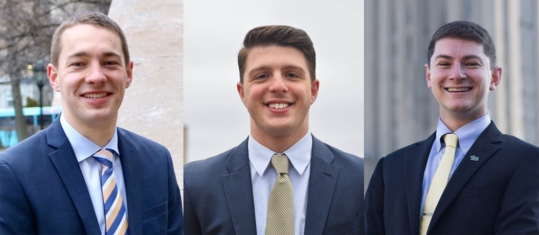 The candidates for SGB President: (from left) Max Kneis, Arlind Karpuzi and Justin Horowitz. Courtesy of SGB
