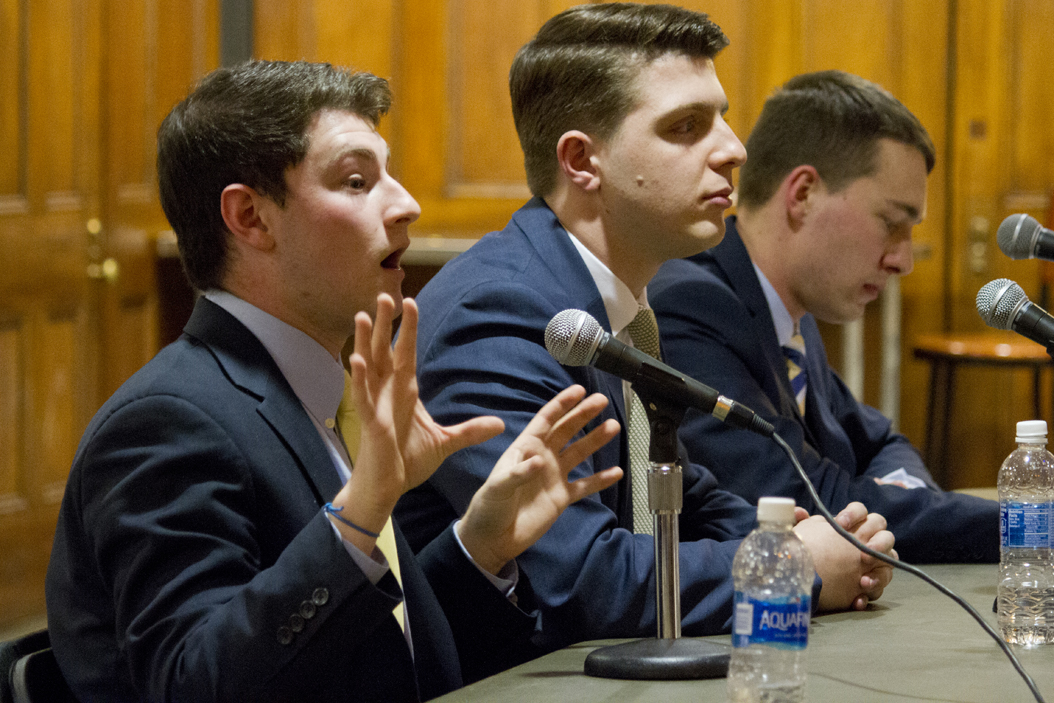 The three SGB presidential candidates (from left to right) Justin Horowitz, Arlind Karpuzi and Max Kneis debate in Nordy's Place. Thomas Yang | Staff Photographer