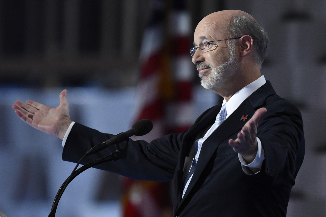 Gov. Tom Wolf speaks during the last day of the Democratic National Convention. Clem Murray/Philadelphia Inquirer/TNS