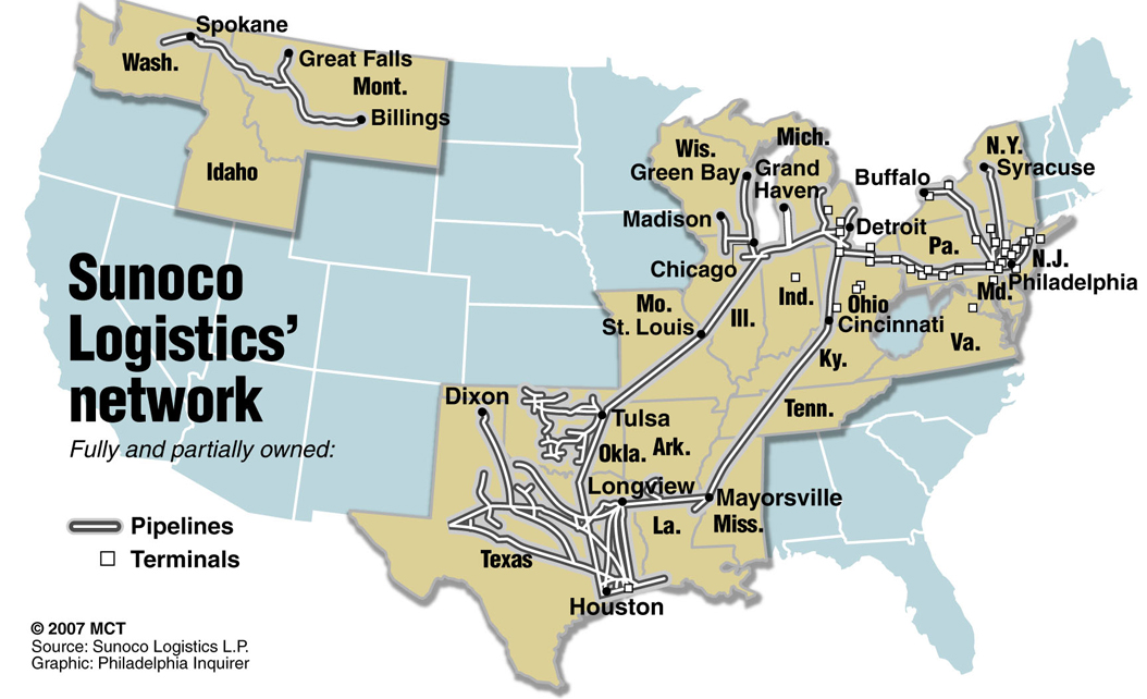 Map of the U.S. showing Sunoco Logistics' pipelines and terminals | TNS