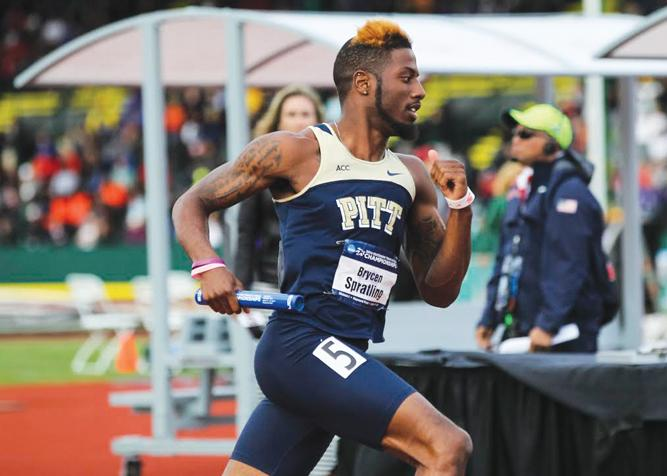 Sprinter Brycen Spratling ended his college career as a First Team All-American at the NCAA Track and Field Championships at Hayward Field in Eugene, Oregon, on June 11, 2014. (Courtesy of Nate Barrett/Eric Evans Photography / Pitt Athletics)