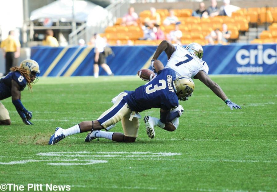 Former Pitt linebacker Nicholas Grigsby jars the ball loose.