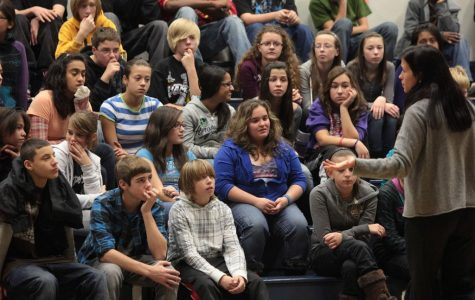 Illinois Attorney General Office Internet Safety Specialist, Sarah Migas, leads an internet safety seminar