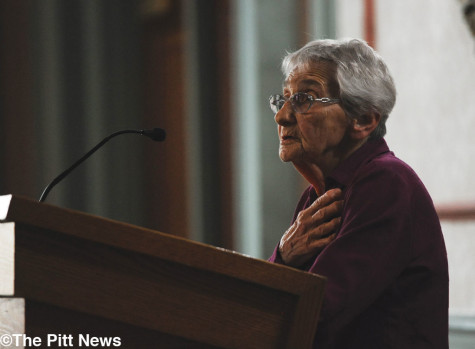 Edith Bell speaks at Pitt
