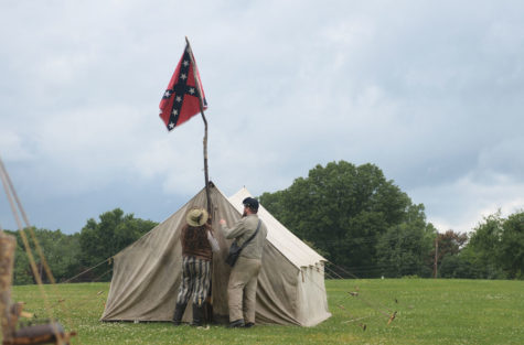 Chris Jones at his Confederate re-enactment camp.