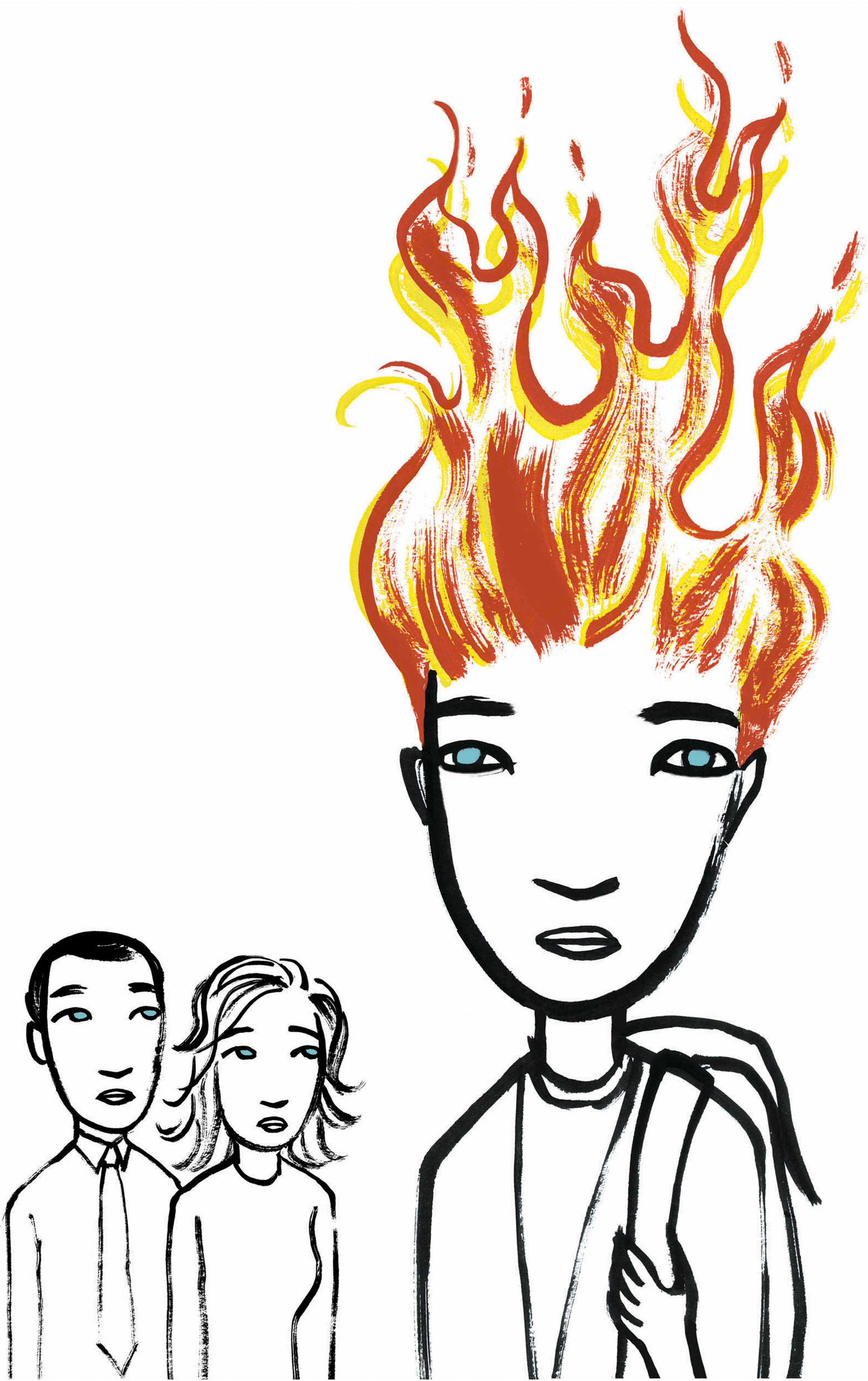 300 dpi 4 col x 12.25 in / 196x311 mm / 667x1058 pixels Michelle Kumata color illustration of concerned parents looking on at a child's flaming hair. The Seattle Times 2006   KEYWORDS: teen brain flame flaming firey fire hair color dyeing dye smoking smoke development redhead teenage adolescent adolescence student learning education growth girl girls family puberty krtfeatures features krthealthmed krtnational national krtworld world counseling krtfamily family krthealth health krtkidhealth kid krtmentalhealth mental health therapy krt aspecto aspectos familia adolescente muchacha nina hija fuego cerebro educacion pelo roja illustration ilustracion grabado se contributor coddington kumata 2006 krt2006