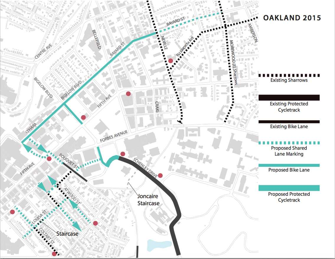 The City's proposed bike lanes in Oakland. Photo: Courtesy of Bicycle-Pedestrian Coordinator Kristin Saunders.