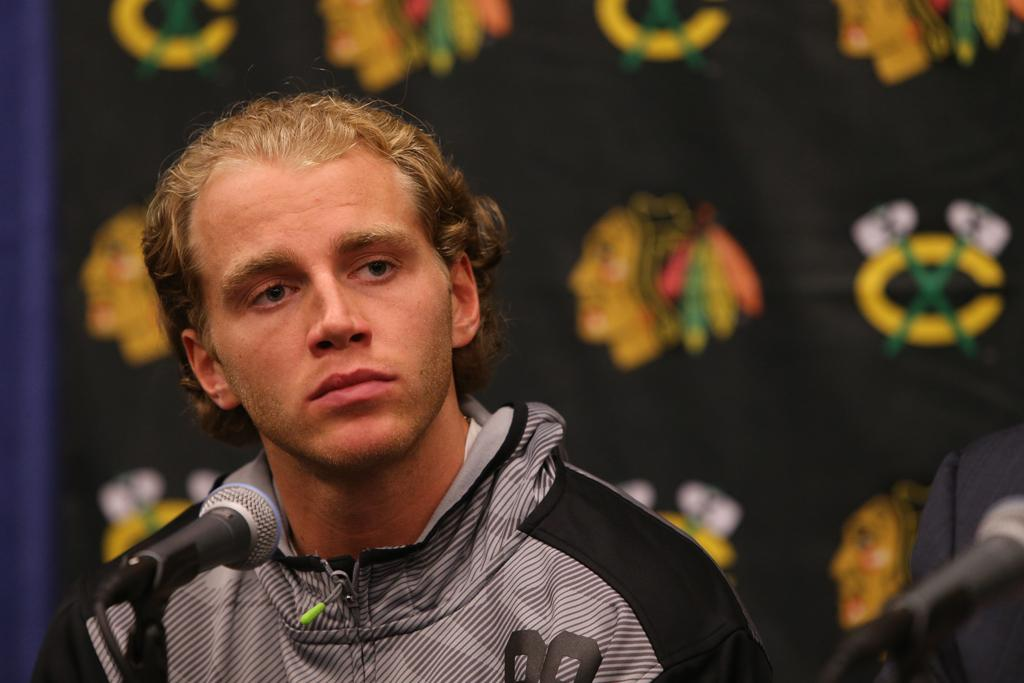 Patrick Kane is seen at a press conference before the start of the Chicago Blackhawks training camp on Thursday, Sept. 17, 2015, at the University of Notre Dame Compton Family Ice Center in South Bend, Ind. (Antonio Perez/Chicago Tribune/TNS)