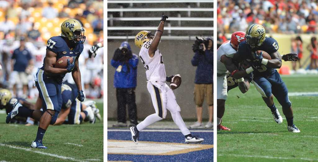 Qadree Ollison, Darrin Hall, and Chris James are all battling for the starting spot this year.  Photos by Jeff Ahearn and Meghan Sunners | Pitt News Photo Staff