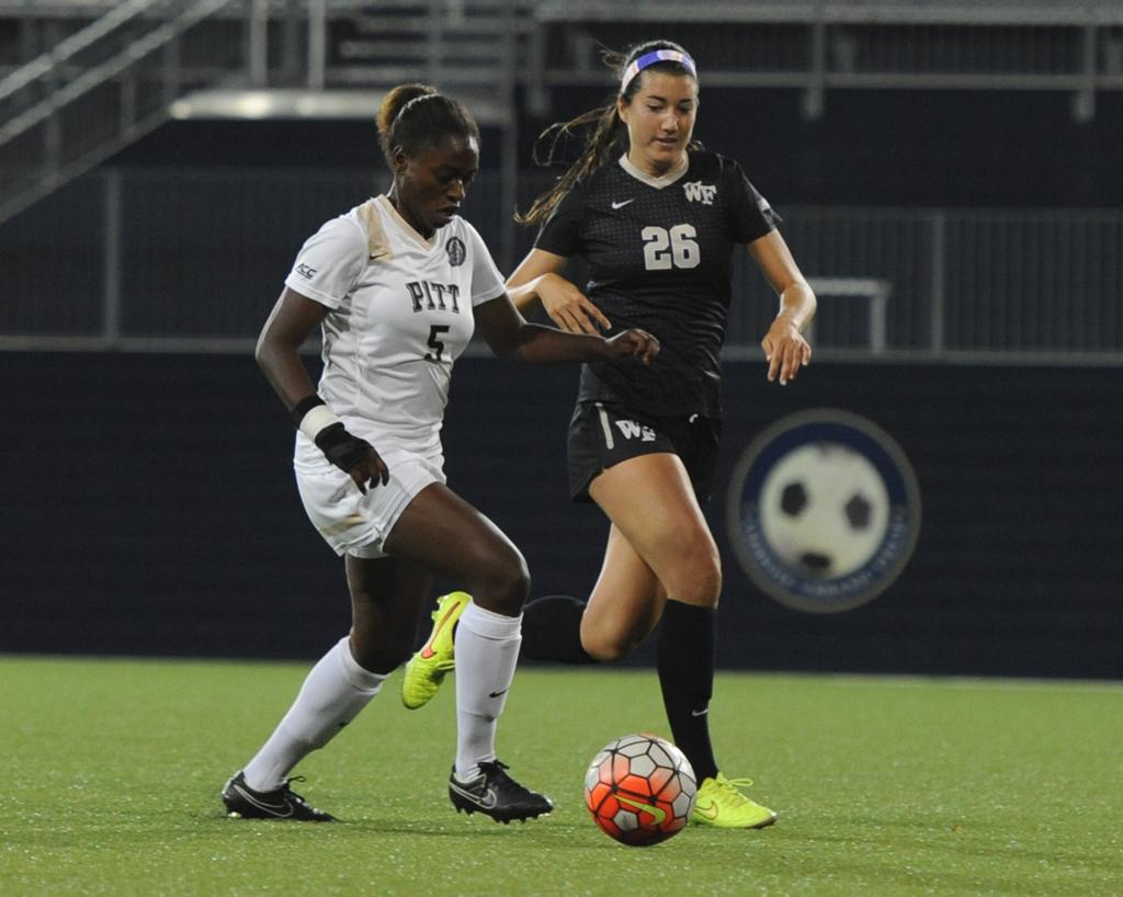 Taylor Pryce drives towards the goal against Wake Forest Thursday evening.  Wenhao Wu | Staff Photographer