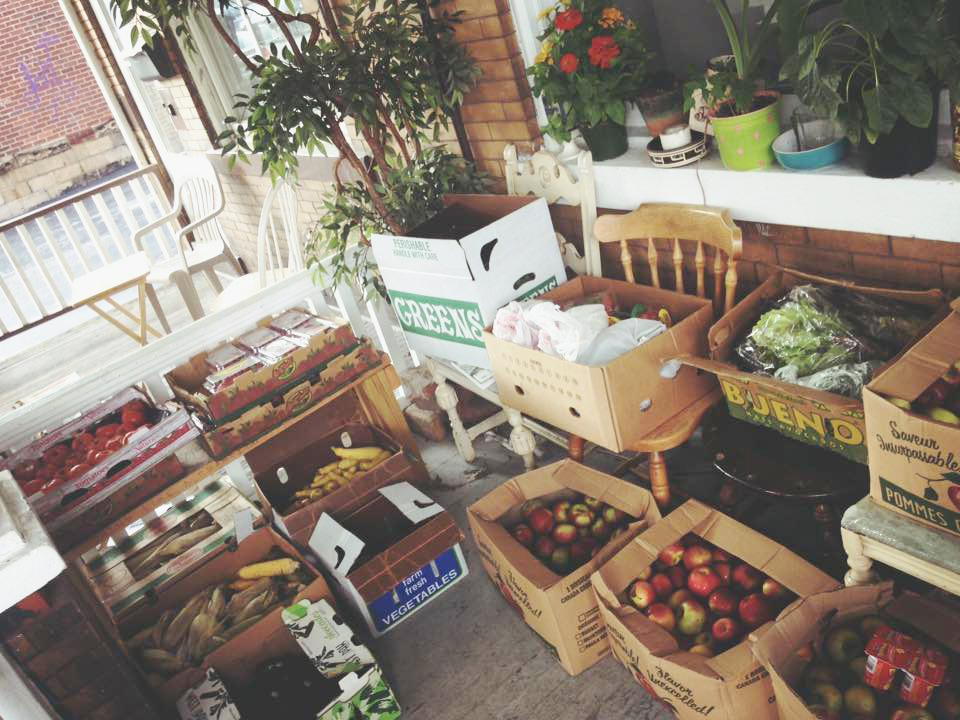 Sarah Kenney hoards free produce on her porch to give to students in need.  Photo courtesy of Sarah Kenney
