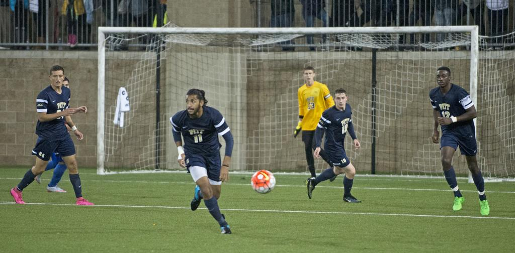 Raj Kahlon (11) scored his first goal of the season to lead Pitt to its first win under new head coach Jay Vidovich.  Andrew Shin |  Staff Photographer