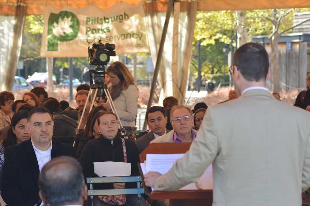Candidates for United States naturalization gather at Schenley Plaza on Monday afternoon to officially become citizens.  Valkyrie Speaker | Staff Photographer