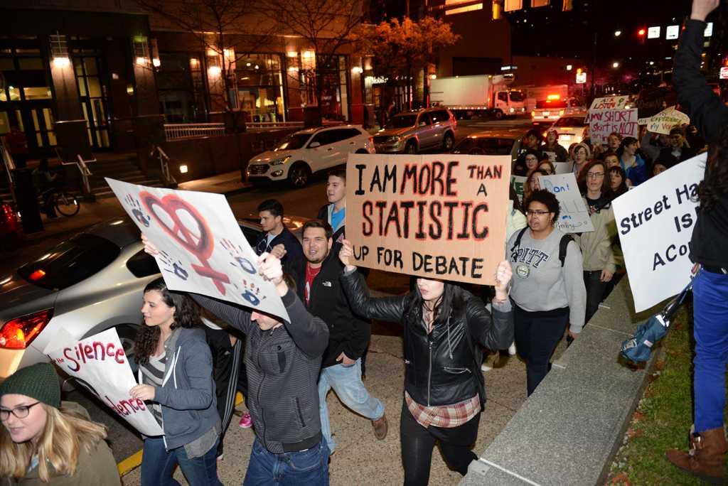 Campus Women's Organization hosted the annual Take Back the Night march around Oakland to demonstrate against sexual assault.  Wenhao Wu | Staff Photographer