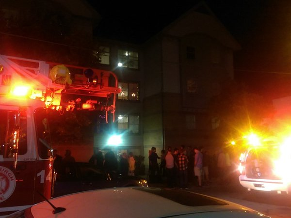Bouquet H residents evacuated early Friday morning after a candle activated a room's sprinkler system. | Harrison Kaminsky / Managing Editor