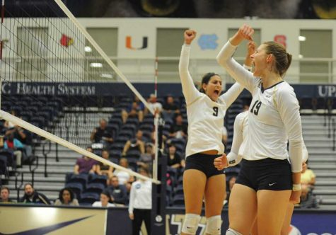 Kadi Kullerkann celebrates a point for Pitt volleyball.  Heather Tennant | Staff Photographer