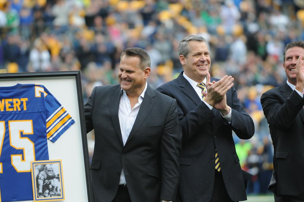 Jim Covert celebrates the retirement of his number, 75, from Pitt Football.  Heather Tennant | Staff Photographer