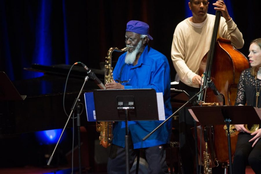 90 year-old jazz legend Pharoah Sanders wails on a tenor saxophone. Jeff Ahearn | Assistant Visual Editor