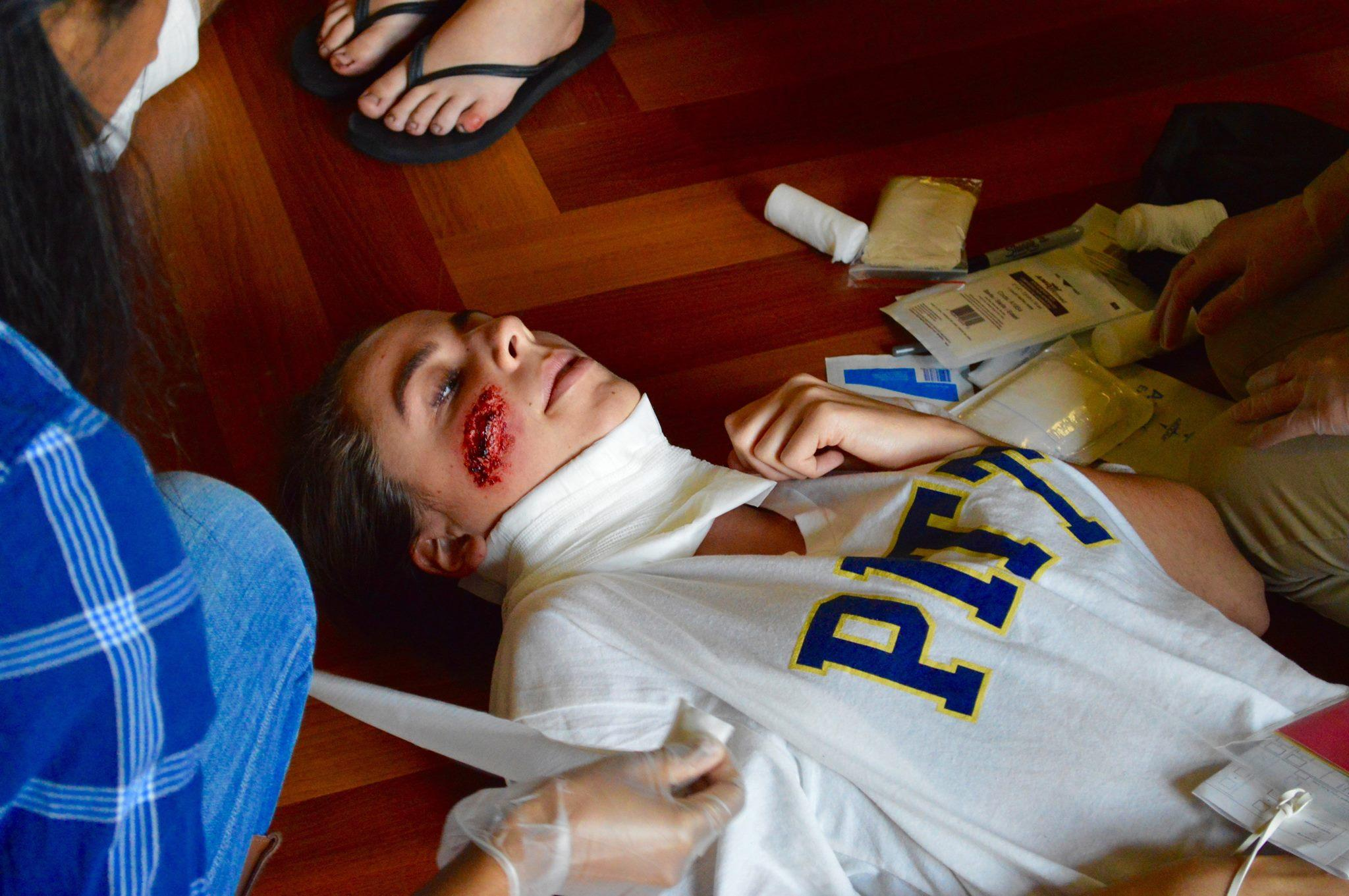 Emergency medicine students practice mass casualty procedures on volunteers on Sunday.  Photo courtesy of Pitt SEMS