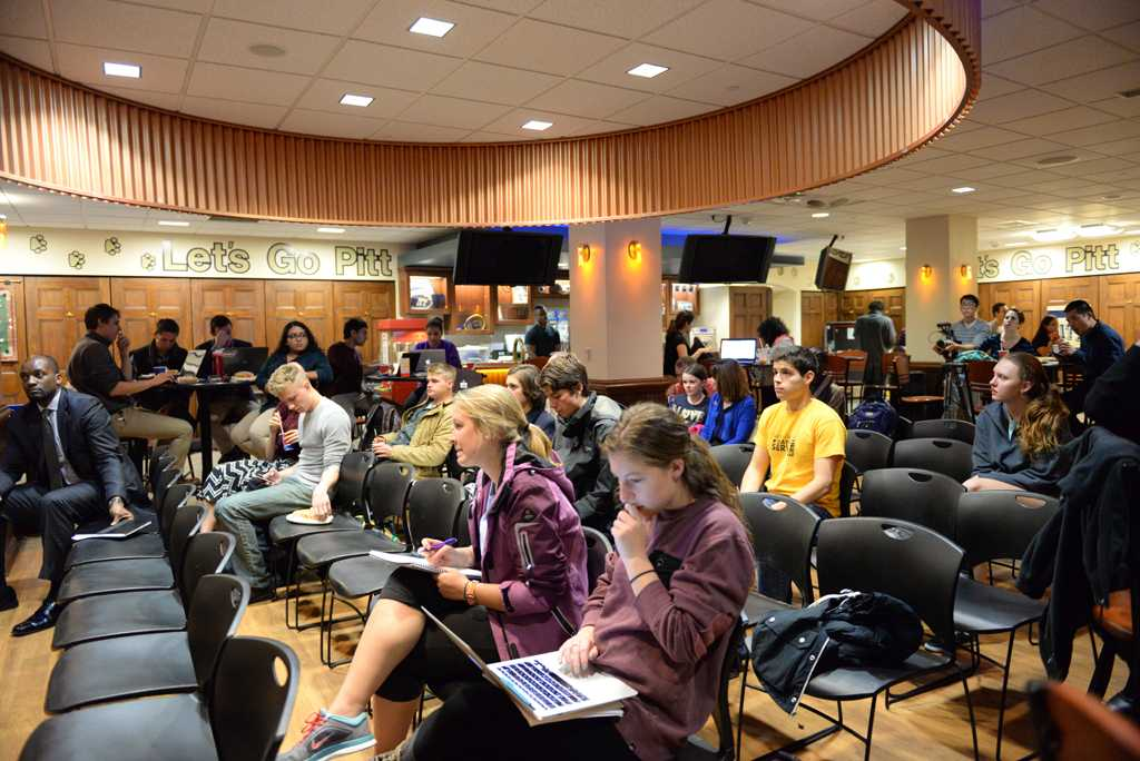 Students gather at Nordy's for the latest open student forum of the semester on Tuesday night.  Kate Koenig | Staff Photographer