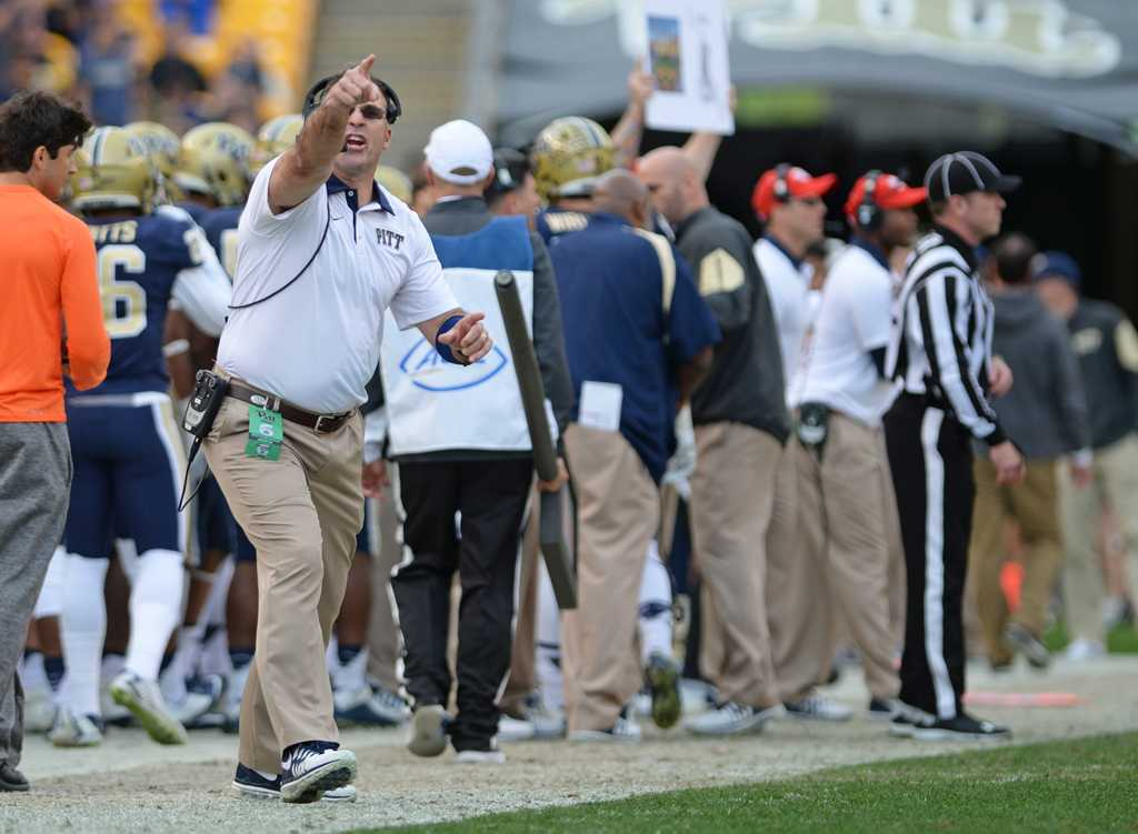 Narduzzi expresses his frustration on the field on Friday.  Wenhao Wu | Staff Photographer