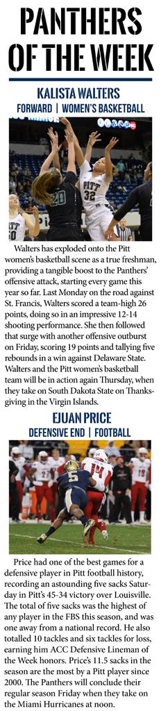 Kalista Walters and Ejuan Price  are this week's Panthers of the Week.