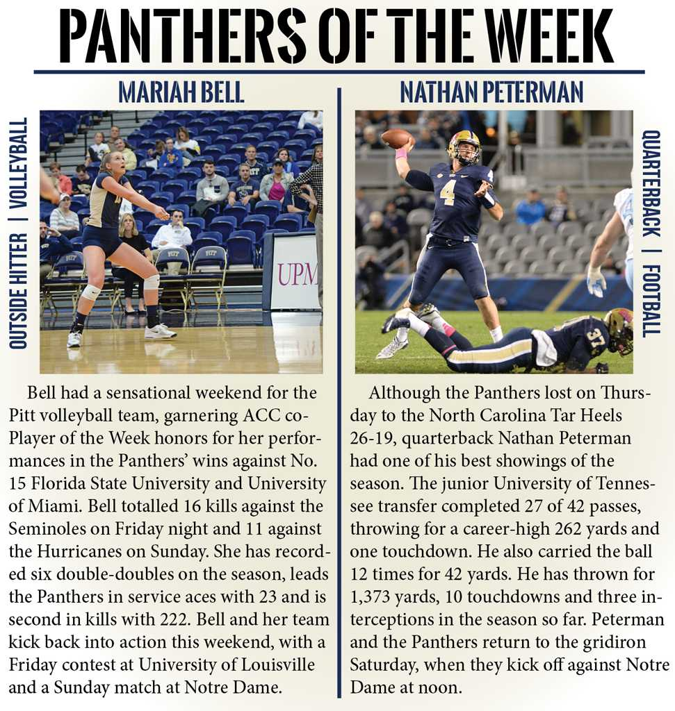 This week's Panthers of the Week are Nathan Peterman and Mariah Bell