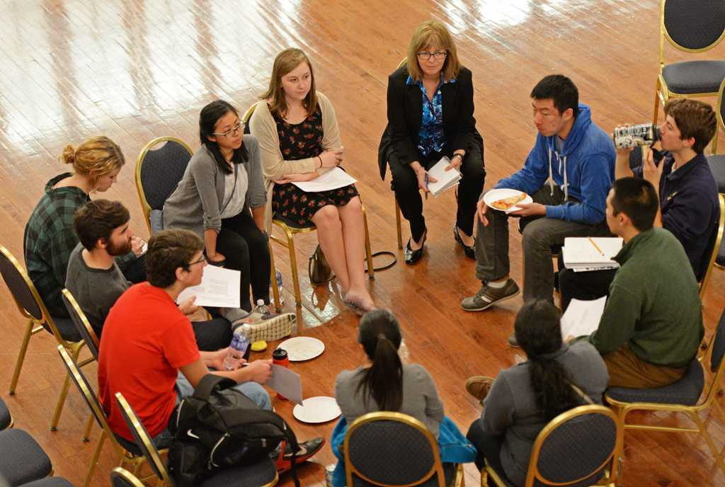Students form small groups to discuss improvement strategies for Pitt at the first  open student forum.  Jeff Ahearn | Assistant Visual Editor