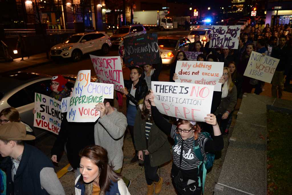 Students protested against sexual assault in October as part of Pitt's annual Take Back the Night.  Wenhao Wu | Staff Photographer