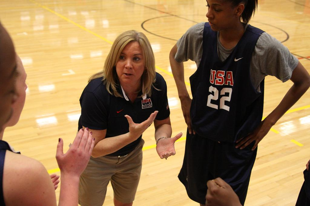 Suzie McConell-Serio coaches up players on team USA.  Photo courtesy of Pitt Media Relations