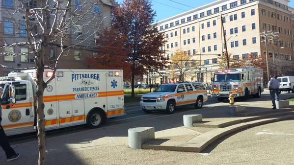 Pitt Police and paramedics arrived to Wesley Posvar Hall around 12:40 p.m.  Dale Shoemaker | News Editor