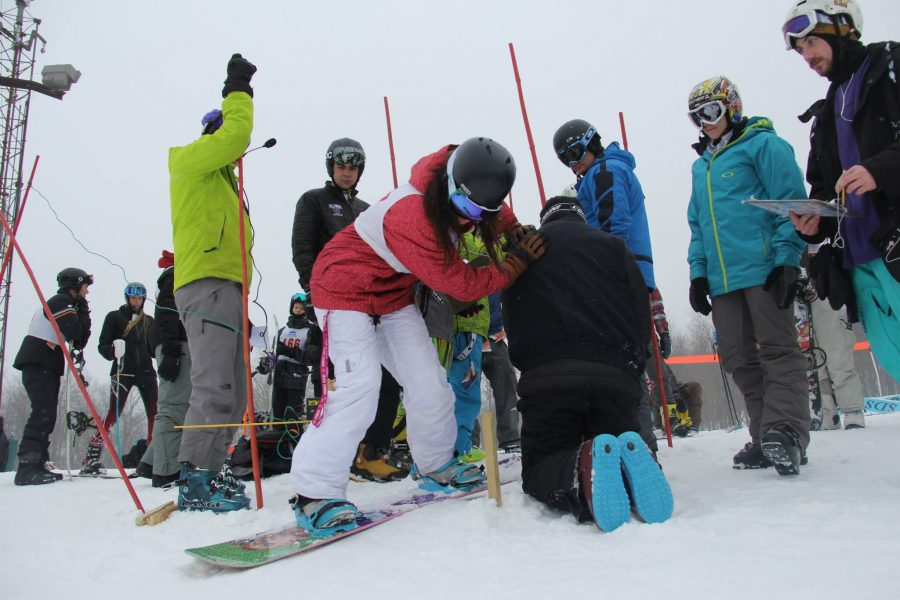 Natalie+Wilk+readies+at+the+start+gate.+Photo+courtesy+of+Pitt+Ski+and+Snowboard+Club